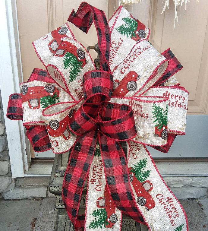 Red Truck Wreath Bow ~Red Truck Christmas Wreath Bow ~ Christmas Decorative Bow