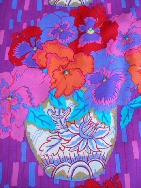 Yardage Cotton Quilt Fabric Garden Pansies Jill Gordon Large Floral Purple