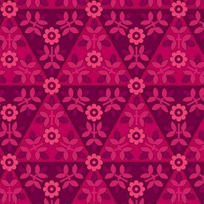Yardage COTTON QUILT FABRIC ANTHOLOGY Magenta TONE ON TONE FLORAL TRIANGLES