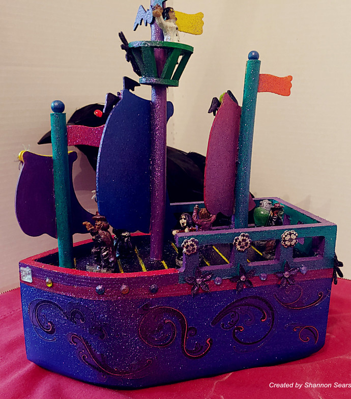 Ghostly Pirate Ship Hand Crafted One of a Kind and Signed by Artist Home or