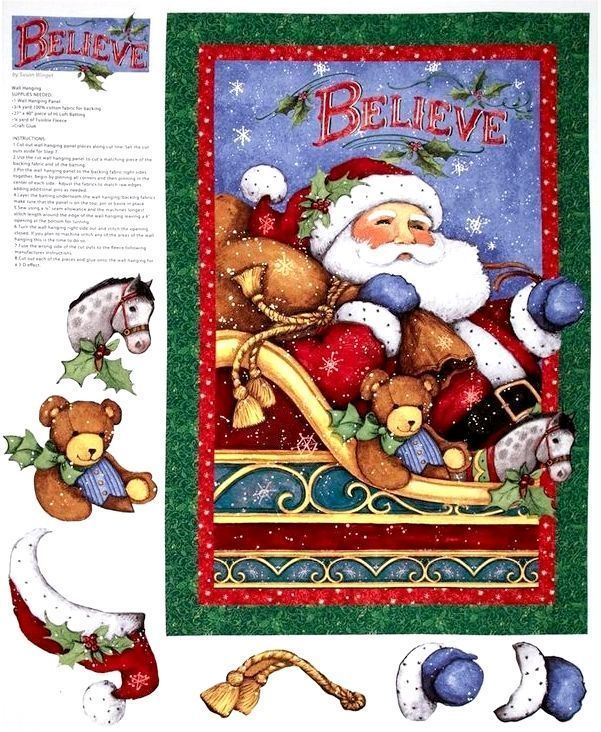 Panel Cotton Quilt Fabric Panel Christmas I believe in Santa Panel