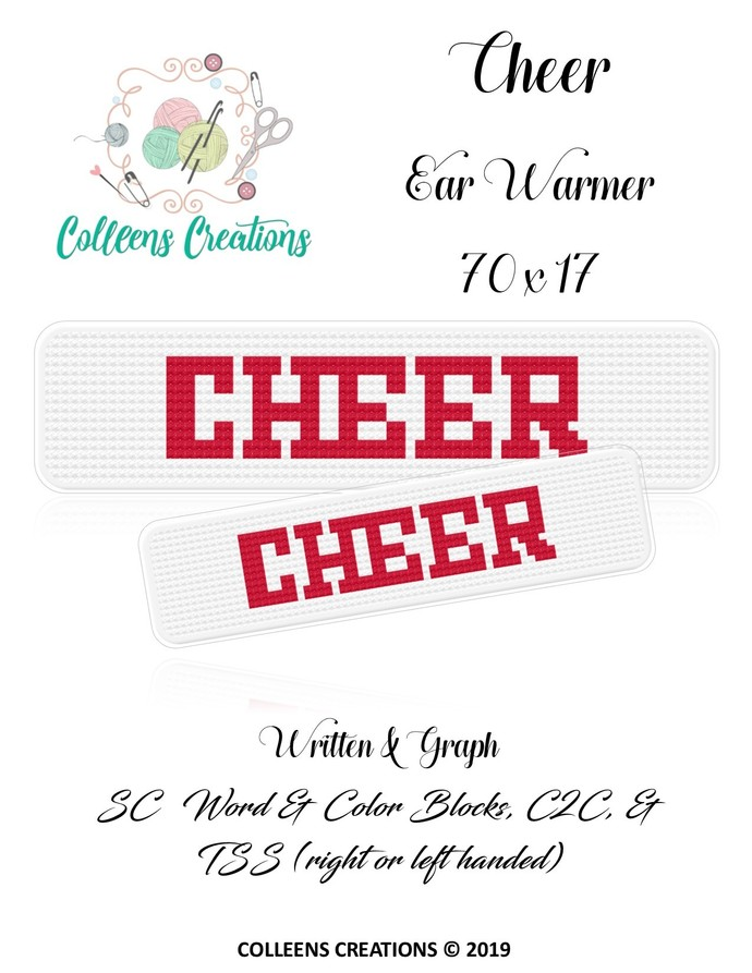 Cheer Ear Warmer Crochet Written & Graph Design