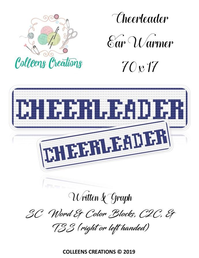 Cheerleader Ear Warmer Crochet Written & Graph Design