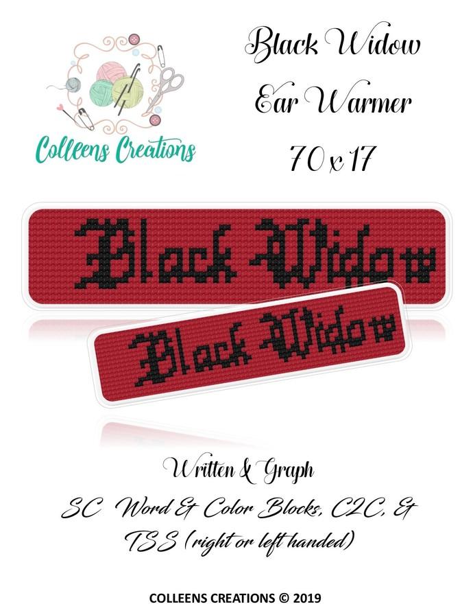 Black Widow Ear Warmer Crochet Written & Graph Design