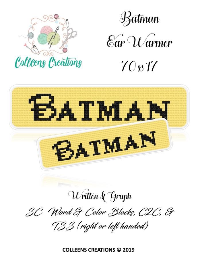 Batman #1 Ear Warmer Crochet Written & Graph Design