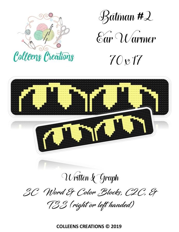Batman #2 Ear Warmer Crochet Written & Graph Design