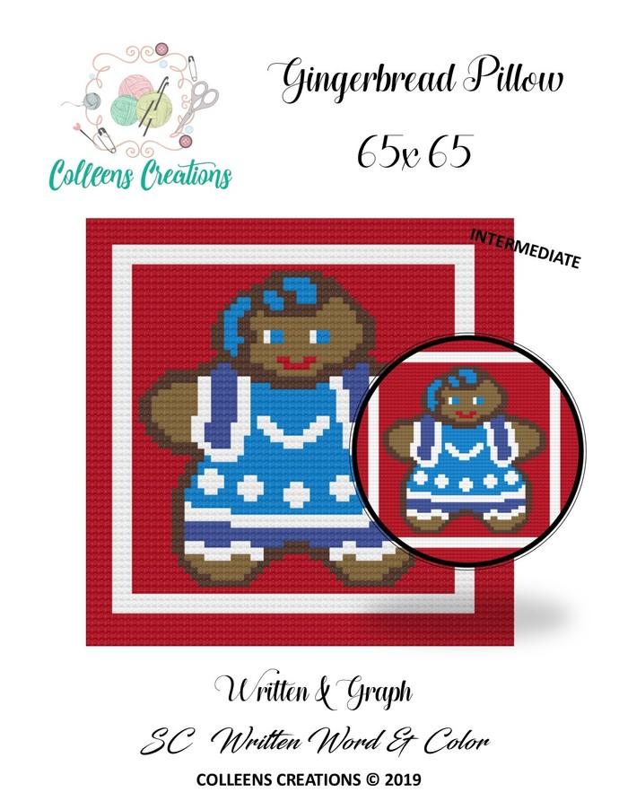 Gingerbread #1 Pillow/Block Crochet Written & Graph Design