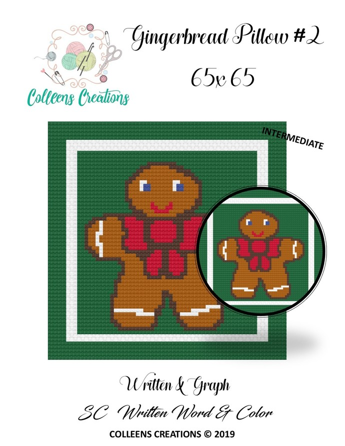 Gingerbread #2 Pillow/Block Crochet Written & Graph Design