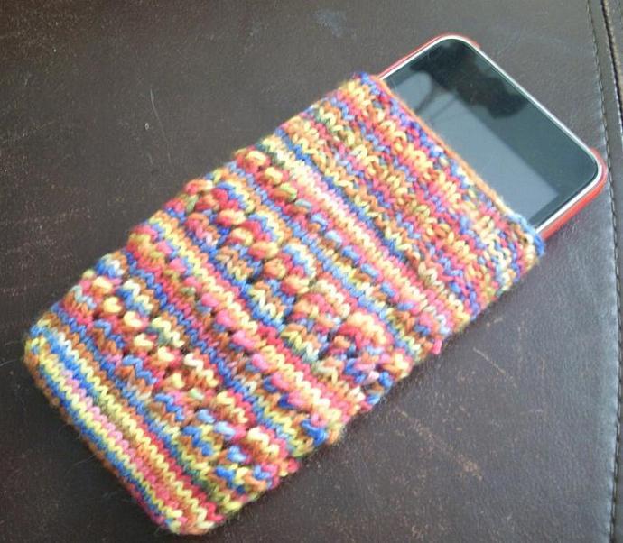Hand Knit Sock yarn eyelet ipod cozy