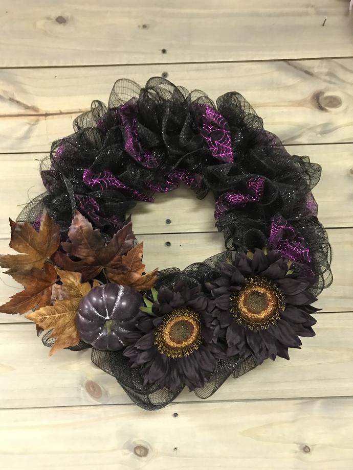 Fall-O-Ween Burlap Wreath