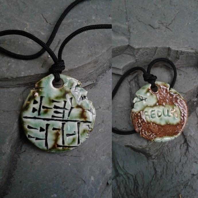 Cuneiform SOLDIER Necklace REDUM Sumerian Pendant Moss Green Ceramic Amulet