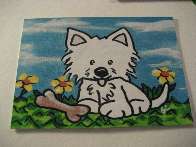 Aceo PRINT Happy Days from original art Westie terrier dog