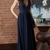 Navy Prom Dress,Satin Prom Gown, V-Neck Prom Dress, A-Line Prom Gown 9977