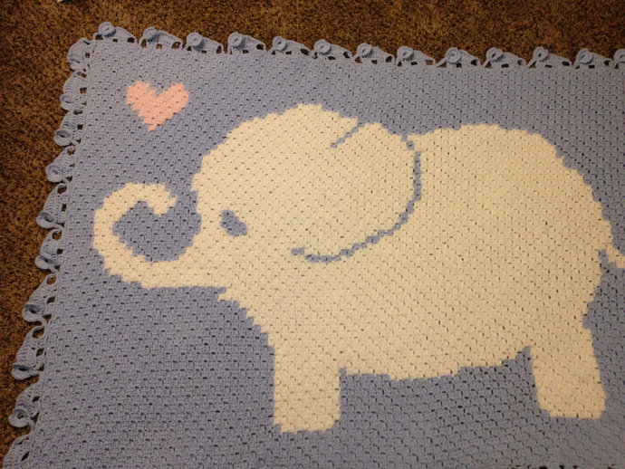 Baby Elephant Love Afghan PLUS 3D Elephant Parade Border Crochet Patterns PDF