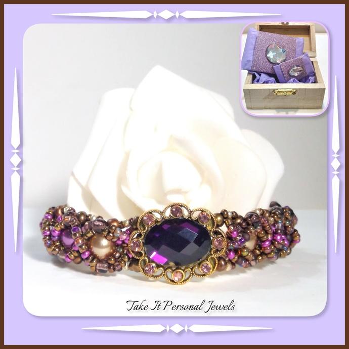 Amethyst and Rhinestone holiday bracelet beaded pearls handmade