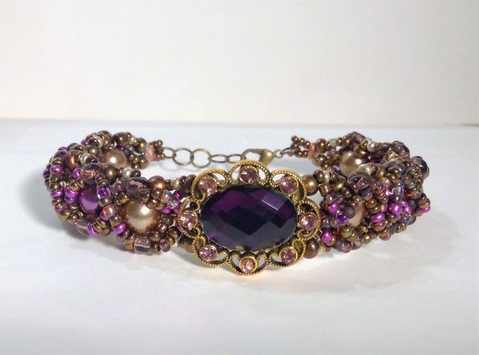 Amethyst and Rhinestone holiday bracelet beaded pearls handmade