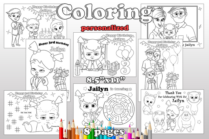 Boss Baby Girl Birthday Party favor,  Boss Baby Girl coloring pages, pdf