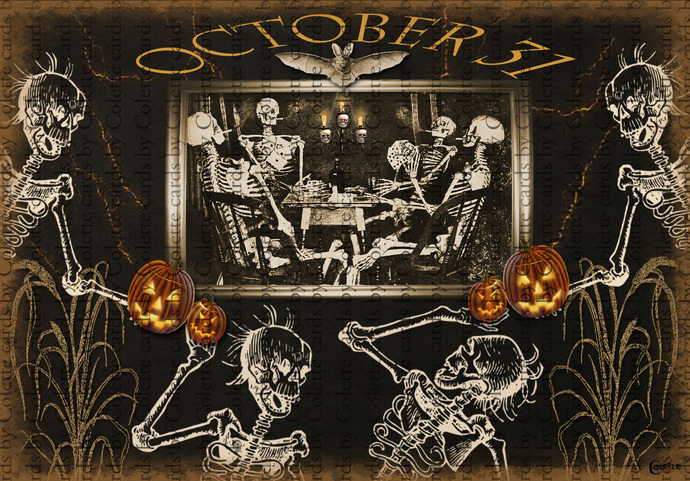 Halloween Skeletons Card Players Digital Collage Greeting Card2469