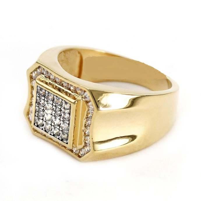 Men's Yellow Gold Finish Diamond Wedding Ring 3 Stone Anniversary Band 925