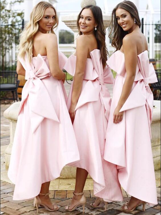 A-Line Strapless High Low Pink Satin Bridesmaid Dress with Bowknot