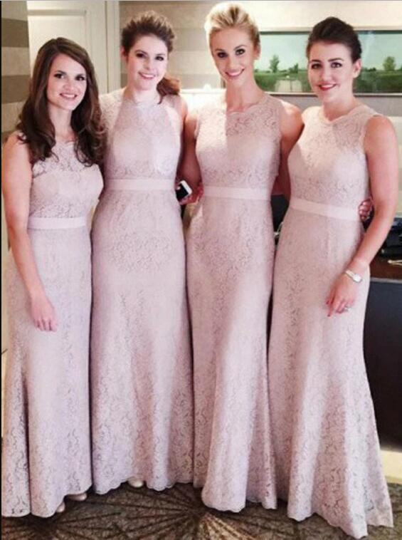 Sheath Round Neck Floor-Length Pink Lace Bridesmaid Dress with Sash