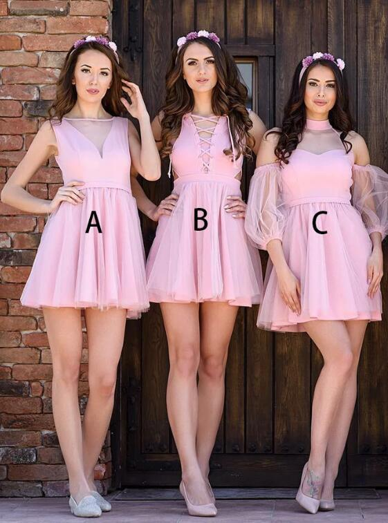 A-Line Bateau Sleeveless Short Pink Tulle Bridesmaid Dress