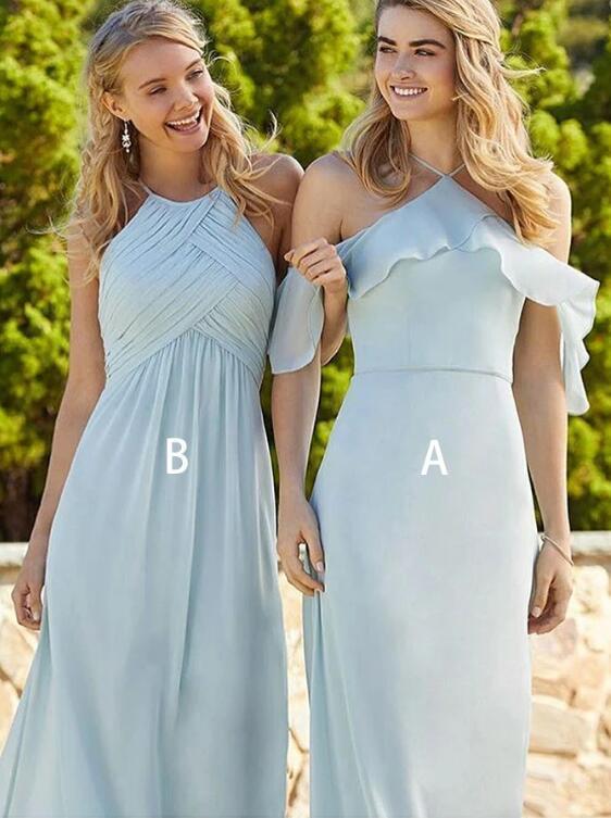 A-line Halter Light Blue Chiffon Bridesmaid Dress with Ruffles