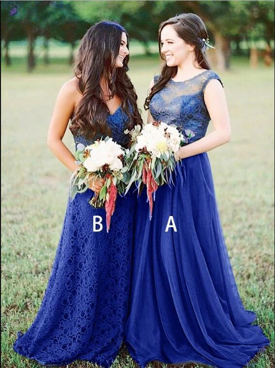 A-Line Round Neck Royal Blue Tulle Bridesmaid Dress with Lace