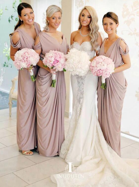 Sheath V-Neck Cold Shoulder Ruched Purple Satin Bridesmaid Dress