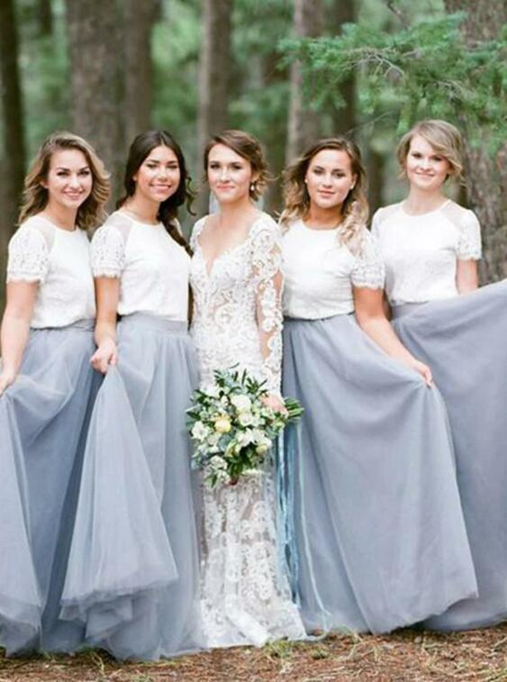 Two Piece Round Neck Grey Tulle Bridesmaid Dress with Lace