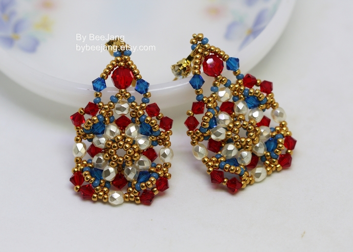 Earrings Tutorials, Rosemia Earrings, Beading Pattern, Digital Download, PDF