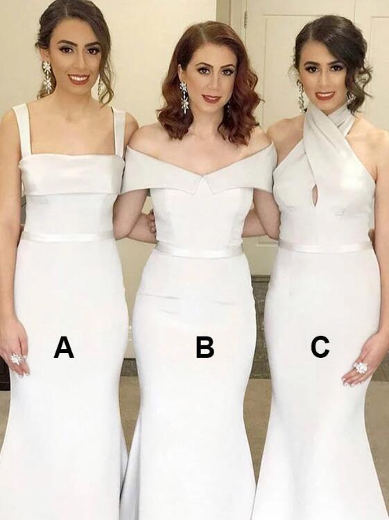 Mermaid Square Neck Sweep Train Ivory Satin Bridesmaid Dress