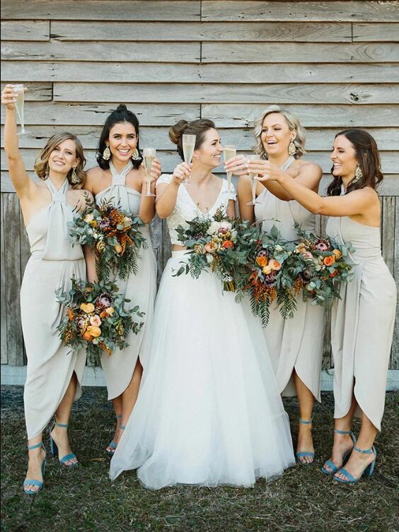 Sheath Halter Ankle Length Grey Chiffon Bridesmaid Dress with Split
