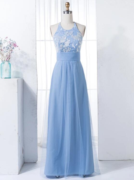 A-Line Jewel Floor-Length Blue Tulle Bridesmaid Dress with Lace