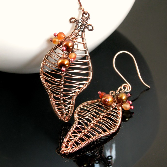 Wire woven leaf earrings with carnelian and pearls