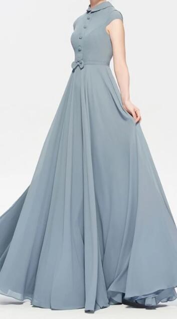 Modest Dusty Blue Bridesmaid Dress Cap Sleeves