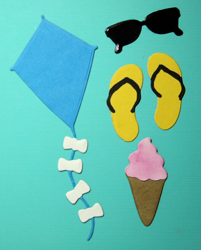 Summertime Metal Cutting Die Sandals, Kite, Glasses and Ice Cream Cone
