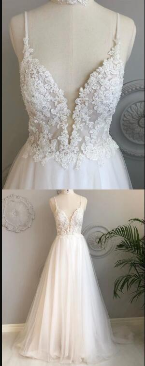 A Line V Neck Backless White Lace Prom Dresses, Backless White Lace Wedding