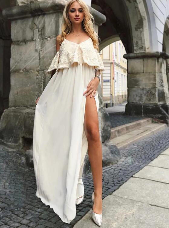 Fancy Spaghetti Straps Cold Shoulder Split Prom Dress Ruffles