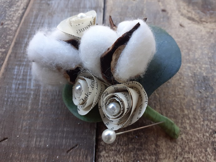 Cotton Boutonniere accented with Book Page Flowers, Rustic Wedding Boutonniere,