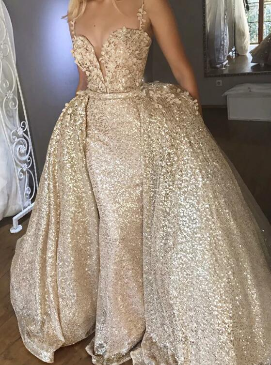 Mermaid Light Champagne Sequined Appliques Prom Dress with Detachable Train