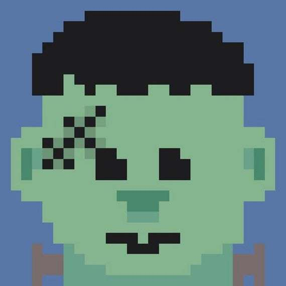 Frank's Monster Frankenstein C2C Crochet Pattern Halloween Panel Graph w/ Color