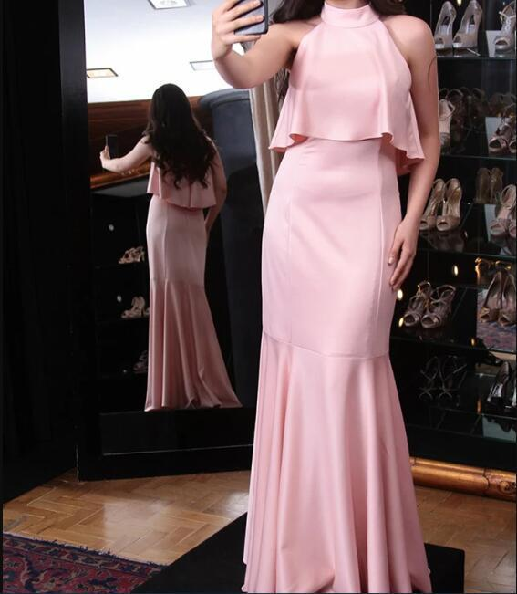 Mermaid High Neck Sweep Train Pink Satin Prom Dress with Ruffles