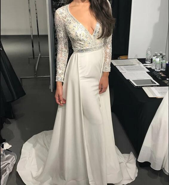 A-Line V-Neck Long Sleeves White Elastic Satin Prom Dress with Sequins