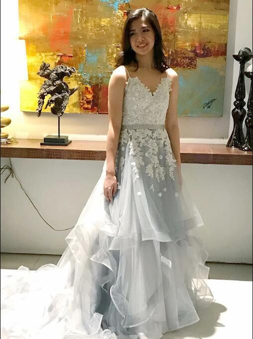 A-Line Spaghetti Straps Asymmetry Grey Tulle Prom Dress with Appliques Beading