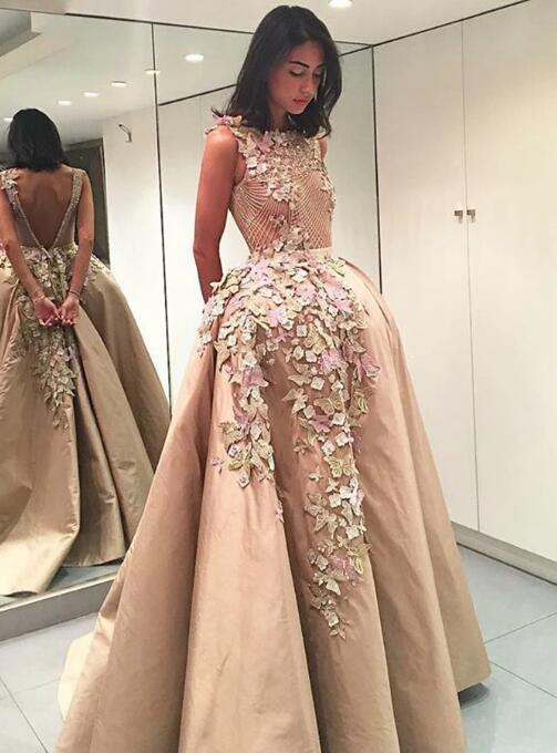 A-Line Bateau Light Brown Satin Prom Dress with Appliques