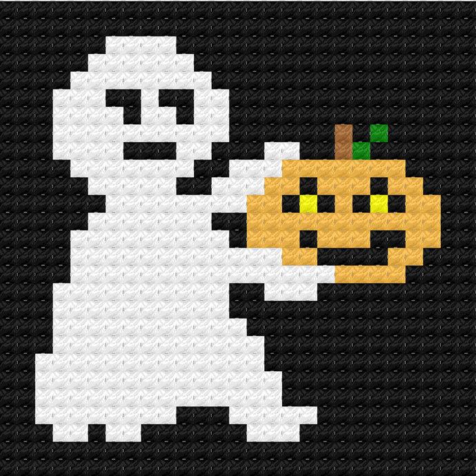 Ghost Pumpkin Jack-o-Lantern C2C Crochet Pattern Panel Graph w/ Color Block