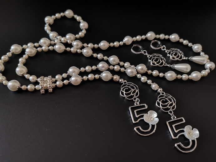 Pearl long Necklace with number 5 hangings and camellia flowers