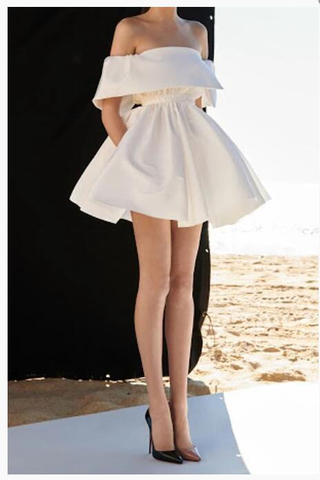 White Off the Shoulder Mini Homecoming Dresses,A-line Prom Dresses