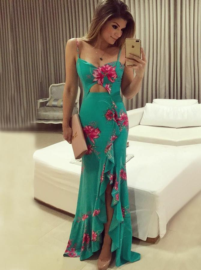 Shaeth Spaghetti Straps Floral Green Chiffon Prom Dress with Ruffles